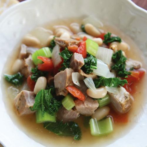 Tuscan Style Pork, Kale and Bean Soup